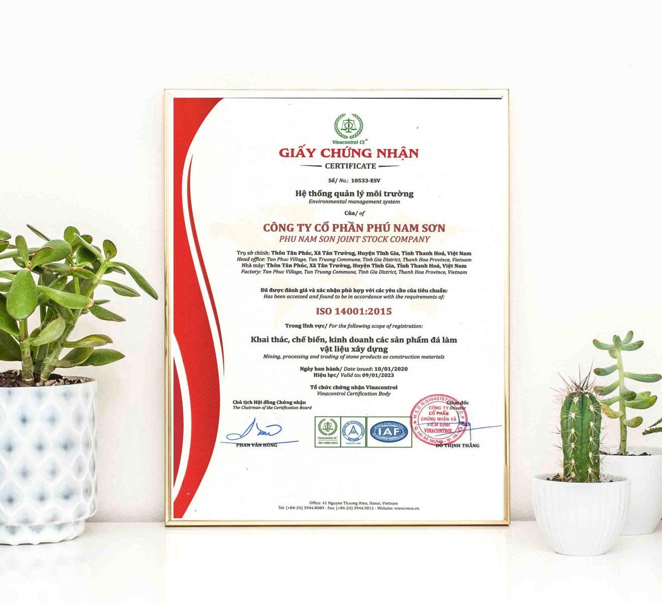 Giấy chứng nhận ISO 14001 được VNCE cấp